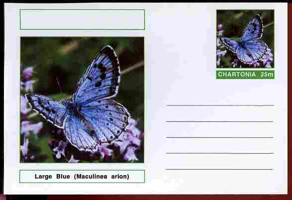 Chartonia (Fantasy) Butterflies - Large Blue (Maculinea arion) postal stationery card unused and fine