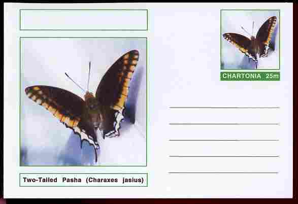 Chartonia (Fantasy) Butterflies - Two-Tailed Pasha (Charaxes jasius) postal stationery card unused and fine