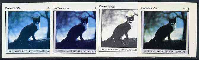 Equatorial Guinea 1976 Cats EK3 (Domestic Cat) set of 4 imperf progressive proofs on ungummed paper comprising 1, 2, 3 and all 4 colours (as Mi 798)