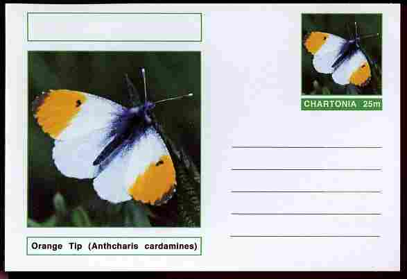 Chartonia (Fantasy) Butterflies - Orange Tip (Anthcharis cardamines) postal stationery card unused and fine