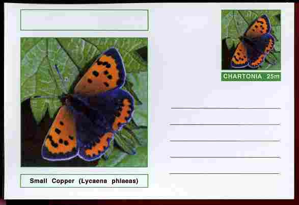 Chartonia (Fantasy) Butterflies - Small Copper (Lycaena phlaeas) postal stationery card unused and fine