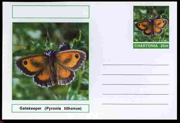 Chartonia (Fantasy) Butterflies - Gatekeeper (Pyronia tithonus) postal stationery card unused and fine