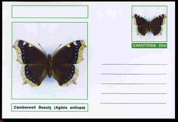 Chartonia (Fantasy) Butterflies - Camberwell Beauty (Aglais antiopa) postal stationery card unused and fine