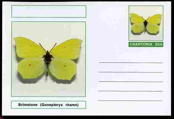 Chartonia (Fantasy) Butterflies - Brimstone (Gonepteryx rhamn) postal stationery card unused and fine