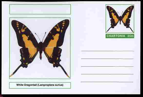 Chartonia (Fantasy) Butterflies - White Dragontail (Lamproptera curius) postal stationery card unused and fine