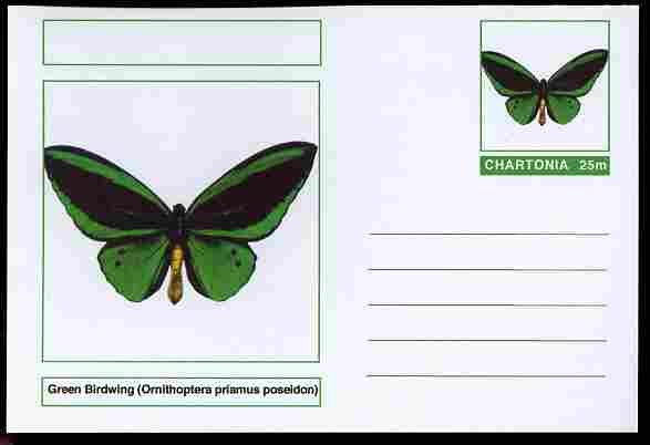 Chartonia (Fantasy) Butterflies - Green Birdwing (Ornithoptera priamus poseidon) postal stationery card unused and fine