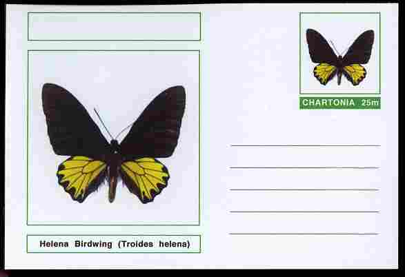 Chartonia (Fantasy) Butterflies - Helena Birdwing (Troides helena) postal stationery card unused and fine