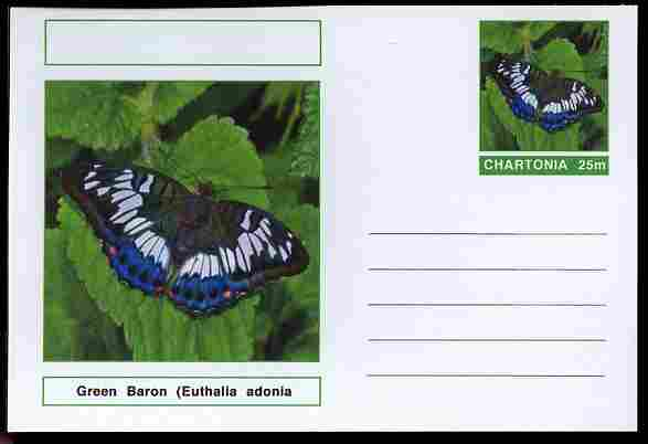 Chartonia (Fantasy) Butterflies - Green Baron (Euthalia adonia pinwilli) postal stationery card unused and fine