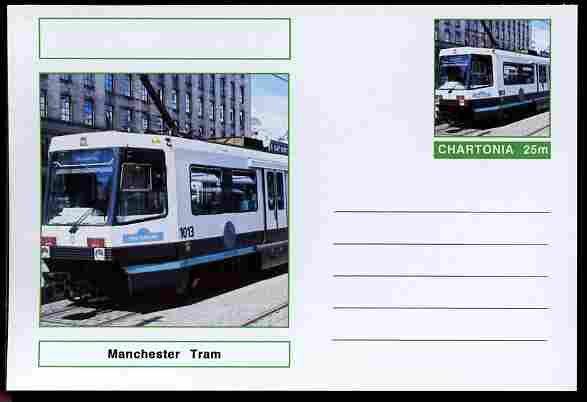 Chartonia (Fantasy) Buses & Trams - Manchester Tram postal stationery card unused and fine