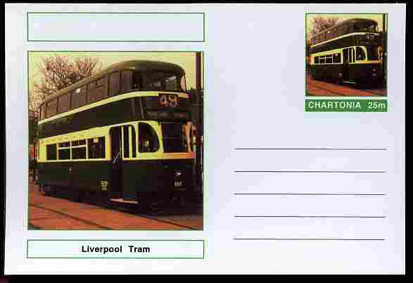 Chartonia (Fantasy) Buses & Trams - Liverpool Tram postal stationery card unused and fine