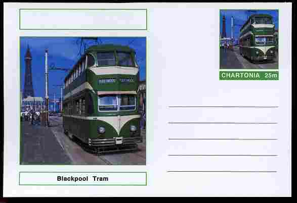 Chartonia (Fantasy) Buses & Trams - Blackpool Tram postal stationery card unused and fine