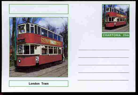 Chartonia (Fantasy) Buses & Trams - London Tram postal stationery card unused and fine