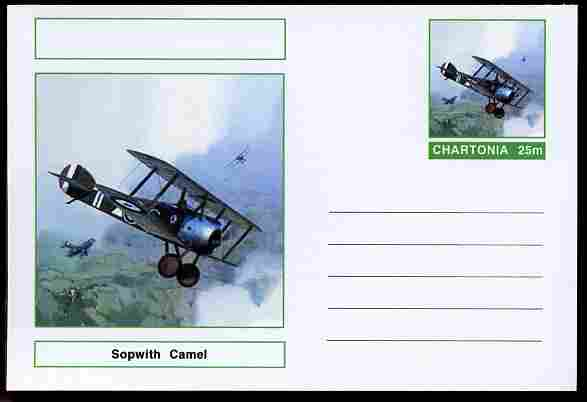 Chartonia (Fantasy) Aircraft - Sopwith Camel postal stationery card unused and fine