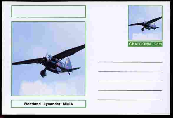 Chartonia (Fantasy) Aircraft - Westland Lysander postal stationery card unused and fine