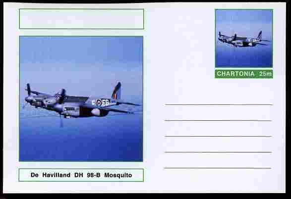 Chartonia (Fantasy) Aircraft - De Havilland Mosquito postal stationery card unused and fine