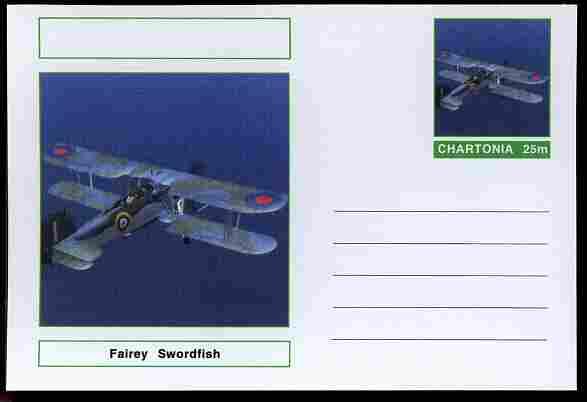 Chartonia (Fantasy) Aircraft - Fairey Swordfish postal stationery card unused and fine
