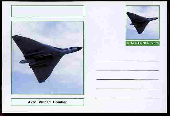 Chartonia (Fantasy) Aircraft - Avro Vulcan postal stationery card unused and fine
