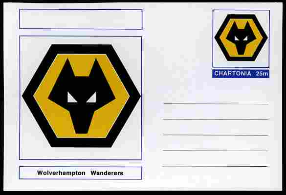 Chartonia (Fantasy) Football Club Badges - Wolverhampton Wanderers postal stationery card unused and fine
