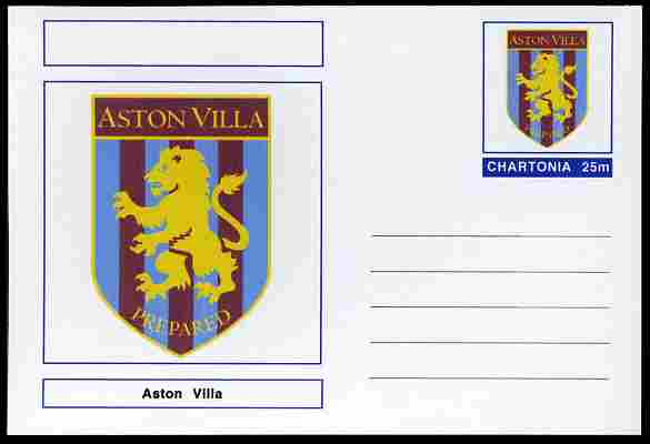 Chartonia (Fantasy) Football Club Badges - Aston Villa postal stationery card unused and fine, stamps on sport, stamps on football