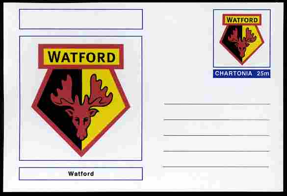 Chartonia (Fantasy) Football Club Badges - Watford postal stationery card unused and fine