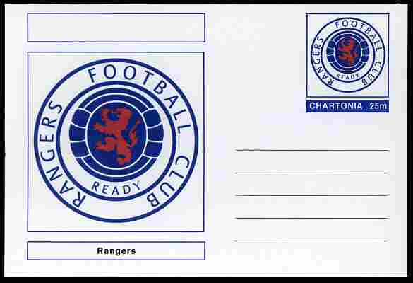Chartonia (Fantasy) Football Club Badges - Rangers postal stationery card unused and fine