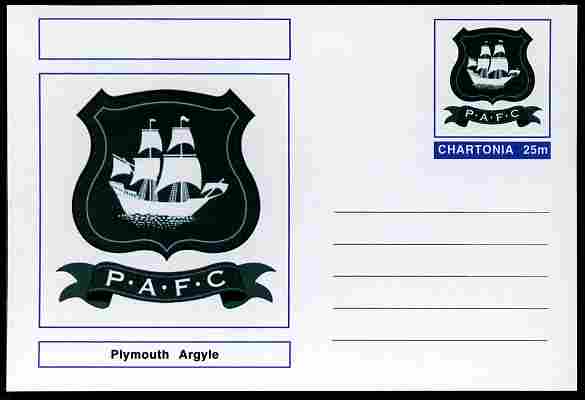 Chartonia (Fantasy) Football Club Badges - Plymouth Argyle postal stationery card unused and fine