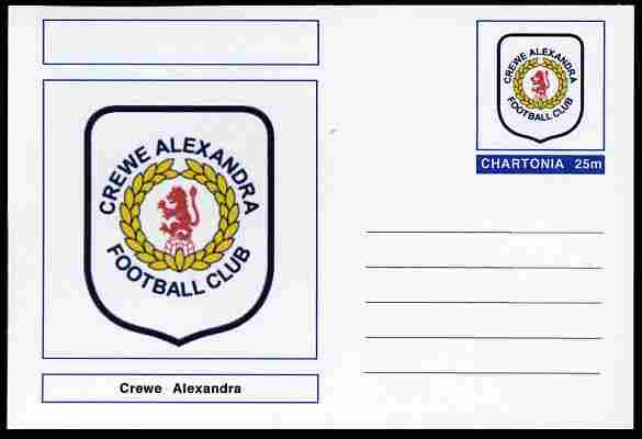 Chartonia (Fantasy) Football Club Badges - Crewe Alexandra postal stationery card unused and fine