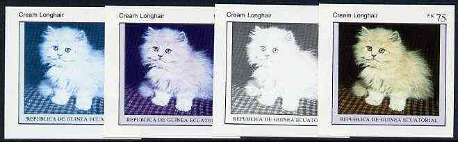 Equatorial Guinea 1976 Cats EK75 (Cream Longhair) set of 4 imperf progressive proofs on ungummed paper comprising 1, 2, 3 and all 4 colours (as Mi 803)