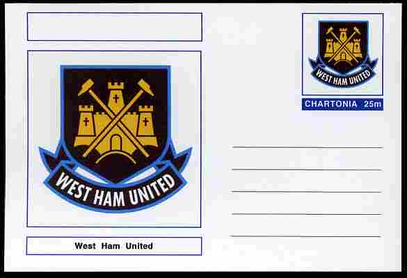 Chartonia (Fantasy) Football Club Badges - West Ham United postal stationery card unused and fine