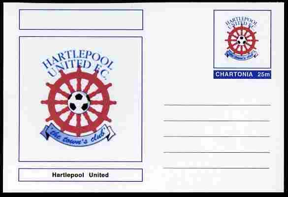 Chartonia (Fantasy) Football Club Badges - Hartlepool United postal stationery card unused and fine