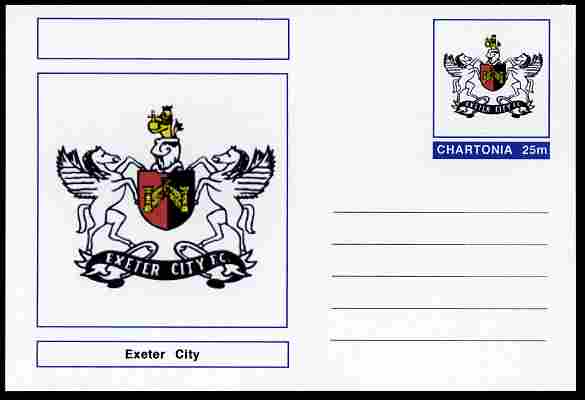 Chartonia (Fantasy) Football Club Badges - Exeter City postal stationery card unused and fine