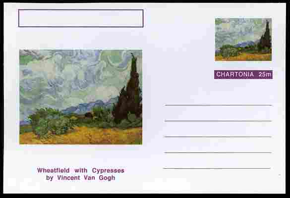 Chartonia (Fantasy) Famous Paintings - Wheatfield with Cypresses by Vincent Van Gogh postal stationery card unused and fine