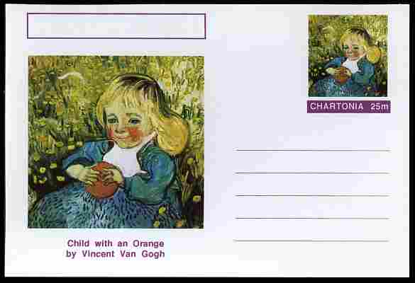 Chartonia (Fantasy) Famous Paintings - Child with an Orange by Vincent Van Gogh postal stationery card unused and fine