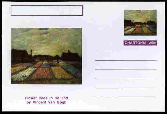 Chartonia (Fantasy) Famous Paintings - Flower Beds in Holland by Vincent Van Gogh postal stationery card unused and fine