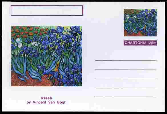 Chartonia (Fantasy) Famous Paintings - Irises by Vincent Van Gogh postal stationery card unused and fine