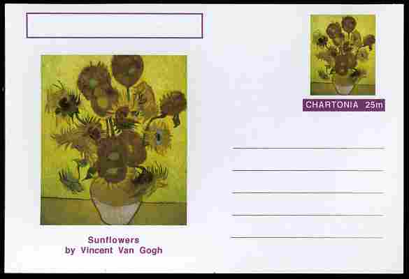 Chartonia (Fantasy) Famous Paintings - Sunflowers by Vincent Van Gogh postal stationery card unused and fine