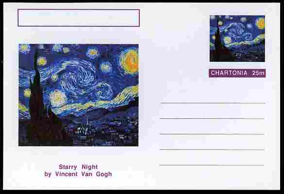 Chartonia (Fantasy) Famous Paintings - Starry Night by Vincent Van Gogh postal stationery card unused and fine