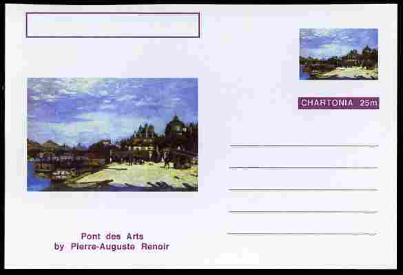 Chartonia (Fantasy) Famous Paintings - Pont des Arts by Pierre-Auguste Renoir postal stationery card unused and fine