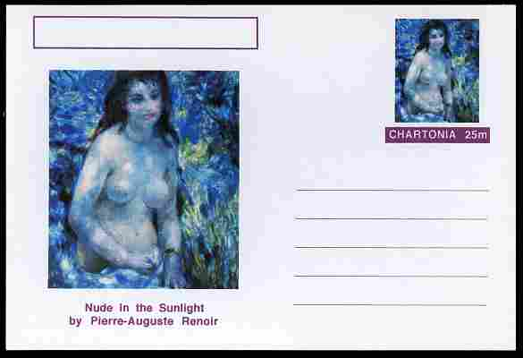 Chartonia (Fantasy) Famous Paintings - Nude in the Sunlight by Pierre-Auguste Renoir postal stationery card unused and fine