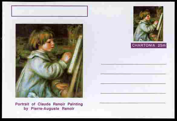 Chartonia (Fantasy) Famous Paintings - Portrait of Claude Renoir Painting by Pierre-Auguste Renoir postal stationery card unused and fine
