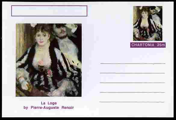 Chartonia (Fantasy) Famous Paintings - La Loge by Pierre-Auguste Renoir postal stationery card unused and fine