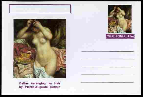 Chartonia (Fantasy) Famous Paintings - Bather Arranging her Hair by Pierre-Auguste Renoir postal stationery card unused and fine