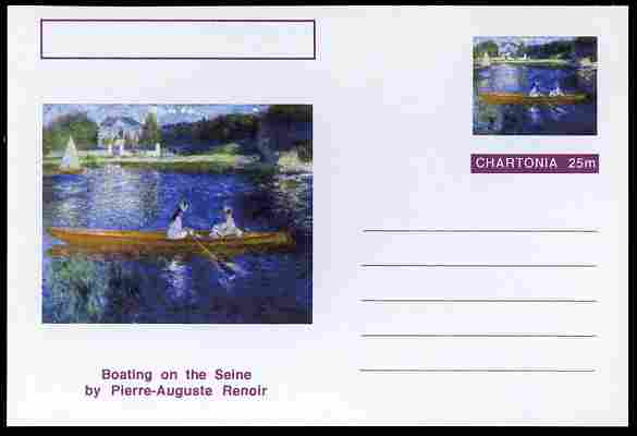 Chartonia (Fantasy) Famous Paintings - Boating on the Seine by Pierre-Auguste Renoir postal stationery card unused and fine