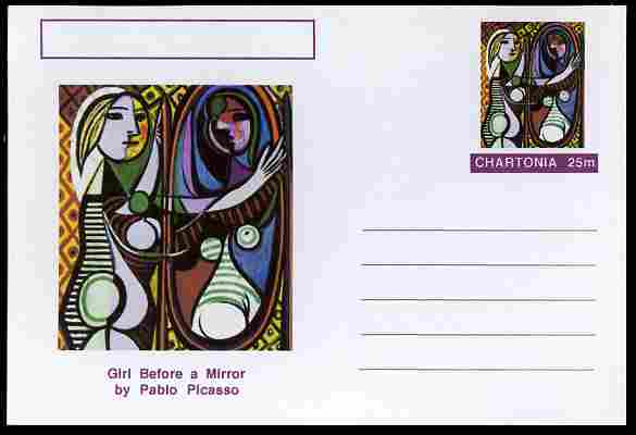 Chartonia (Fantasy) Famous Paintings - Girl Before a Mirror by Pablo Picasso postal stationery card unused and fine