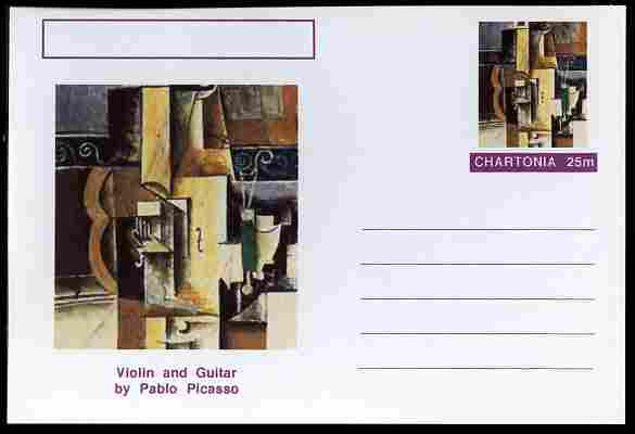 Chartonia (Fantasy) Famous Paintings - Violin and Guitar by Pablo Picasso postal stationery card unused and fine
