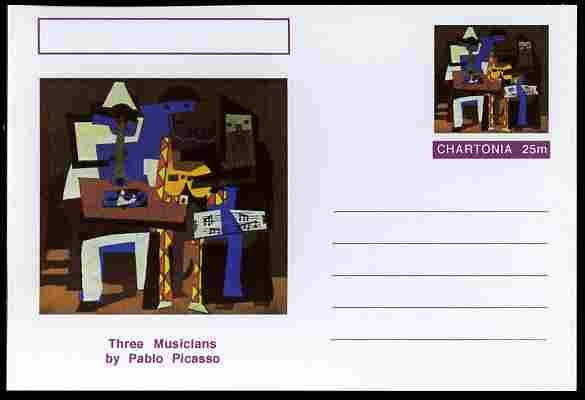 Chartonia (Fantasy) Famous Paintings - Three Musicians by Pablo Picasso postal stationery card unused and fine