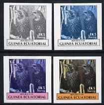 Equatorial Guinea 1977 Birds EK5 (Starlings) set of 4 imperf progressive proofs on ungummed paper comprising 1, 2, 3 and all 4 colours (as Mi 1207)