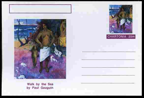Chartonia (Fantasy) Famous Paintings - Walk by the Sea by Paul Gauguin postal stationery card unused and fine
