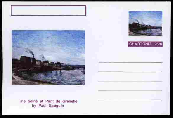 Chartonia (Fantasy) Famous Paintings - The Seine at Pont de Grenelle by Paul Gauguin postal stationery card unused and fine