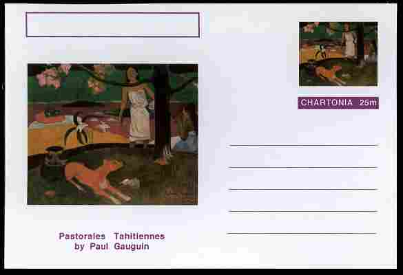Chartonia (Fantasy) Famous Paintings - Pastorales Tahitiennes by Paul Gauguin postal stationery card unused and fine